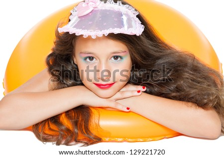 cute little girl ready for the beach - stock photo