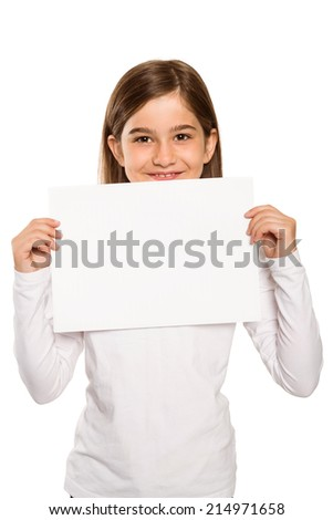 Cute little girl showing card on white background - stock photo