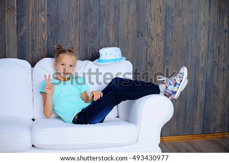 Girl Sitting Sofa Stock Images Royalty Free Images