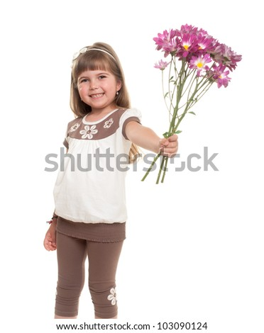 cute little girl standing nd smiling against white background