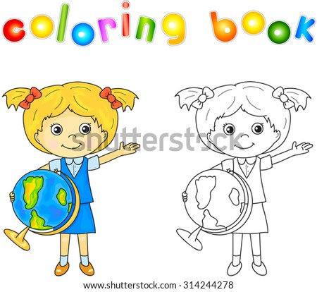 Cute little girl standing with a globe in her hands and smiling. Educational game for kids. illustration for children - stock photo