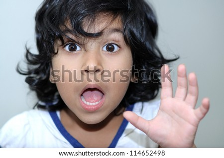 cute little girl surprised - stock photo