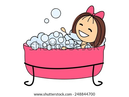 Cute Little Girl Taking Bath Stock Illustration 248844700 ...