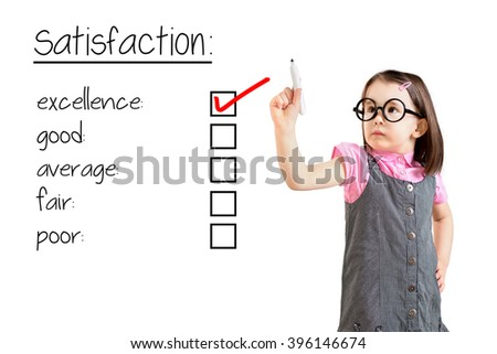 Cute little girl wearing business dress and checking excellence on customer satisfaction survey form. White background.