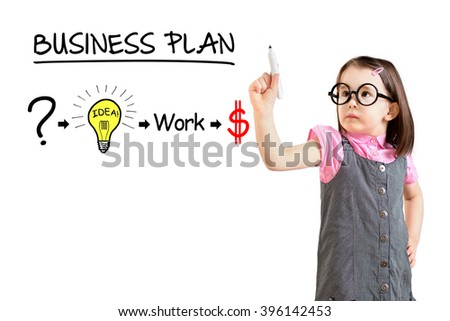Cute little girl wearing business dress and drawing a strategy plan to be successful in his business. White background.
