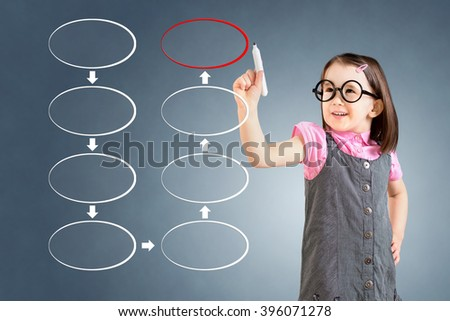 Cute little girl wearing business dress and drawing blank eight stage strategy flowchart. Blue background. - stock photo