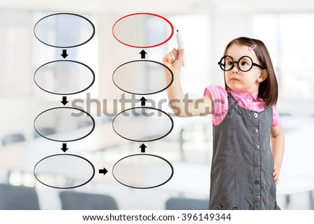 Cute little girl wearing business dress and drawing blank eight stage strategy flowchart. Office background. - stock photo