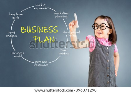 Cute little girl wearing business dress and drawing business plan concept. Blue background. - stock photo
