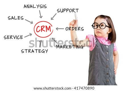 Cute little girl wearing business dress and drawing customer relationship management process concept. White background.  - stock photo