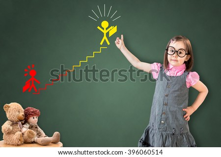 Cute little girl wearing business dress and showing a career ladder concept on green chalk board.