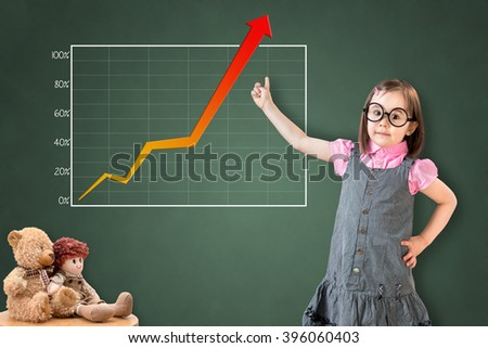 Cute little girl wearing business dress and showing achievement graph on green chalk board.