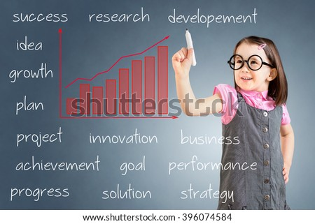 Cute little girl wearing business dress and writing growth graph with business related text. Blue background.