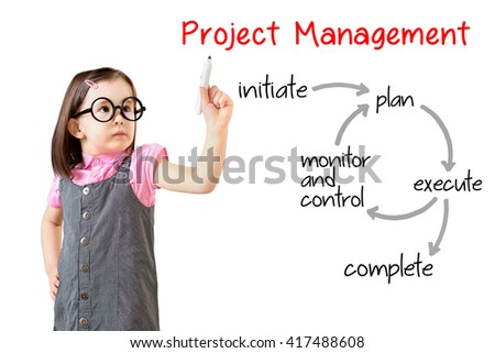 Cute little girl wearing business dress and writing project management workflow. White background. - stock photo