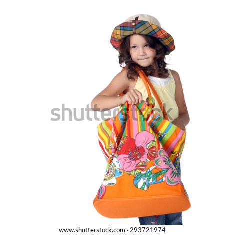 cute little girl with a big bag