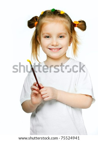 cute little girl with a brush and paints - stock photo