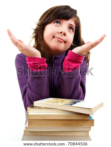 Cute little girl with big book, explaining something, isolated over white - stock photo