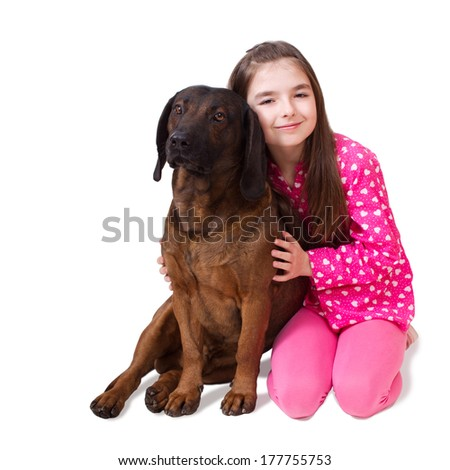 Cute little girl with dog isolated on white