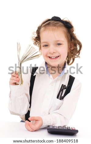 Cute little girl with dollars, isolated over white - stock photo