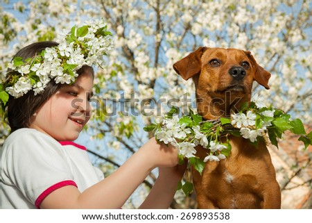 Cute little girl with her brown dog - stock photo