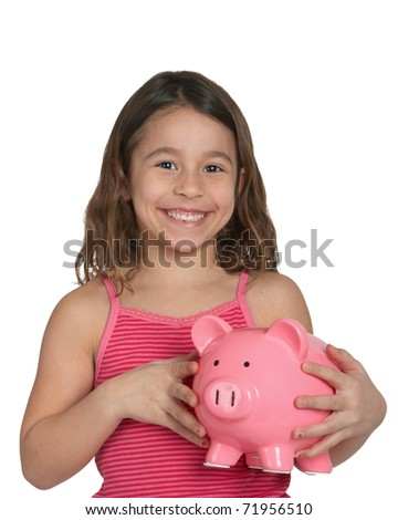 Cute little girl with piggy bank isolated on white