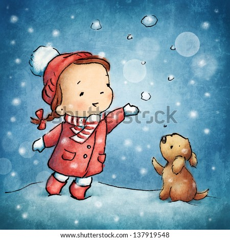 Cute little girl with puppy under snow. - stock photo