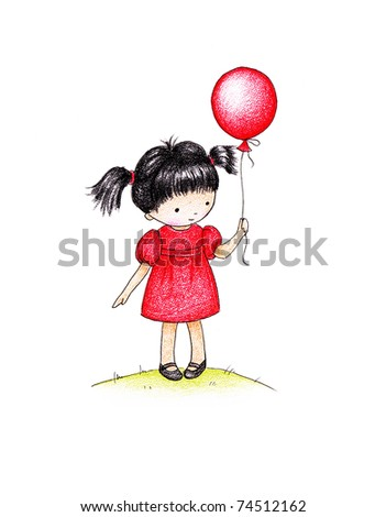 cute little girl with red balloon - stock photo
