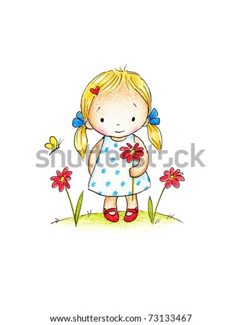 cute little girl with red flower on green lawn - stock photo