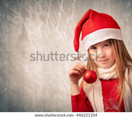Cute little girl with Santa's hat