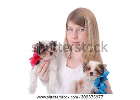 cute little girl with the beaver cute little puppies