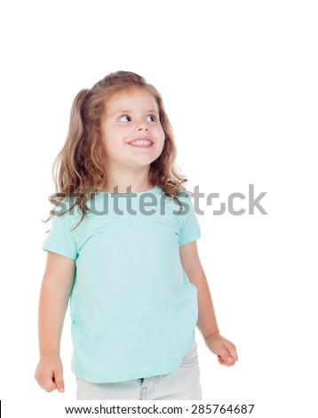 Cute little girl with three year old looking at side on a white background