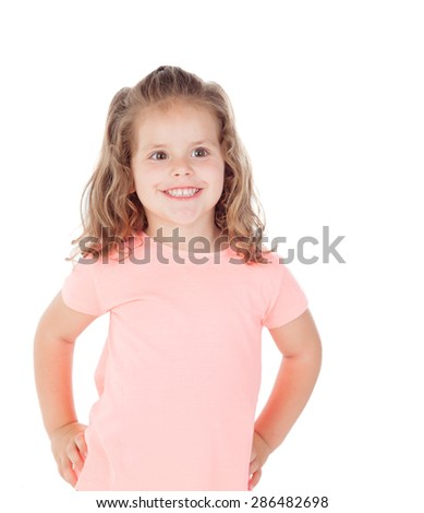 Cute little girl with three year old smiling on a white background - stock photo
