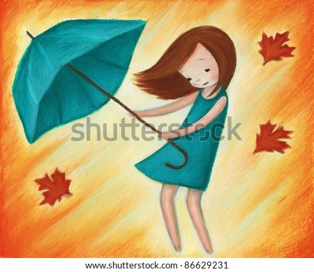 A Beautiful Little Girl In The Rain Child Stock Images ...