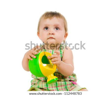 Cute little girl with watering can on a white background