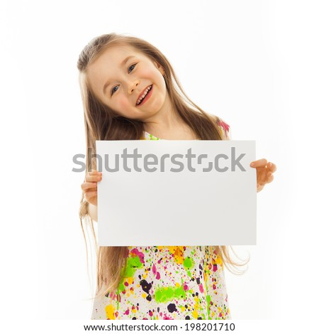 Cute little girl with white sheet of paper. Isolated on white background. - stock photo