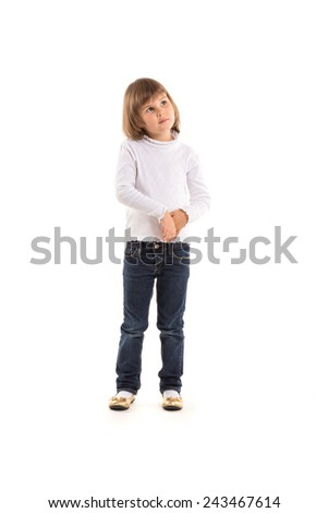 cute little girl with wondering face expression. Isolated on white background.