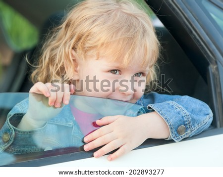 cute little girl 3 years old in the car
