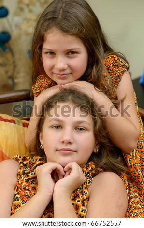 cute little girls - stock photo
