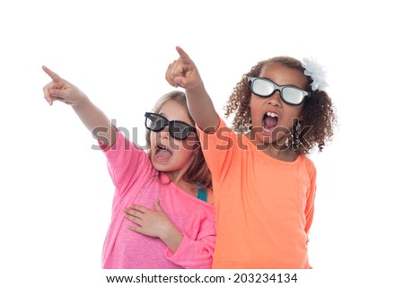 Cute little girls pointing to the side - stock photo