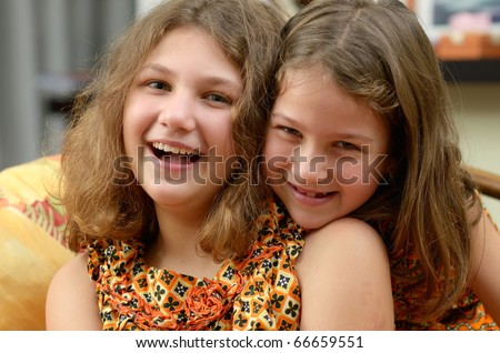 cute little girls portrait - stock photo