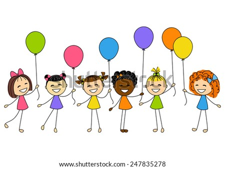 Cute little girls with balloons