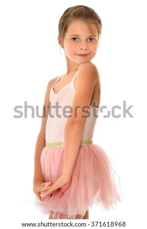 Cute little gymnast - stock photo