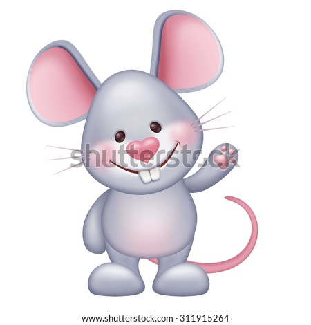 cute little happy mouse animal standing and waving hand, lovely pet illustration isolated on white - stock photo