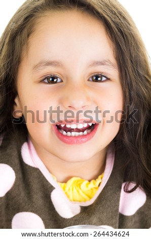 Cute little happy preschooler girl holding a - stock photo