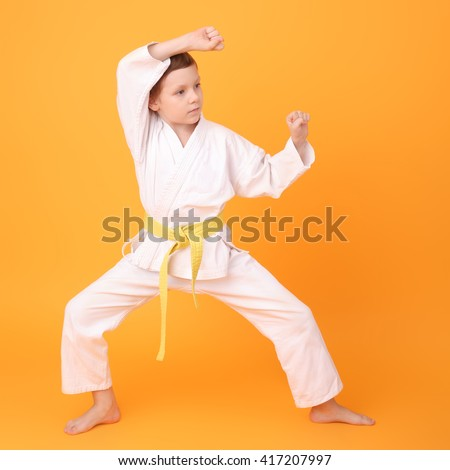 cute little karate boy on the yellow background