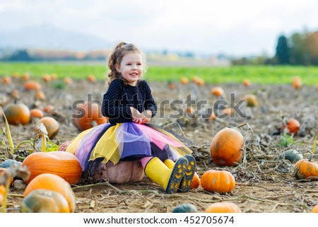 Cute little kid girl having fun with farming on a pumpkin patch. Traditional family festival with children, thanksgiving and halloween concept. Cute farmer.