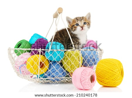 Cute little kitten in basket with thread isolated on white - stock photo