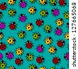 Cute little ladybugs in colors, seamless tile. Raster version. - stock photo