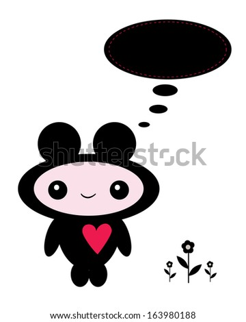 cute little monster with bubble speech - stock photo