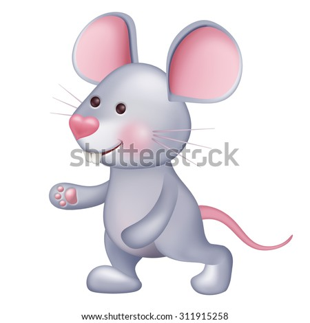 cute little mouse animal playing or walking, lovely pet illustration isolated on white - stock photo