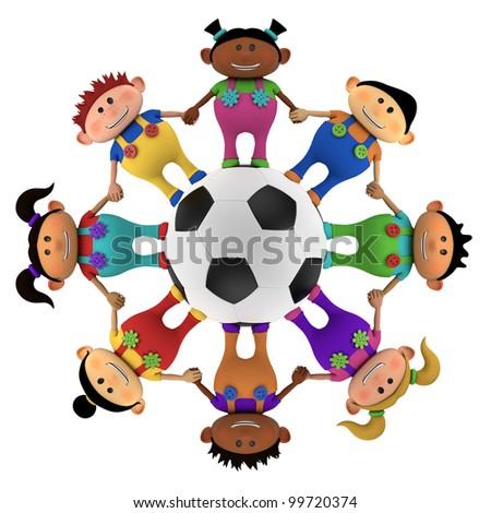 cute little multiethnic cartoon kids holding hands around a big football - high quality 3d illustration - stock photo
